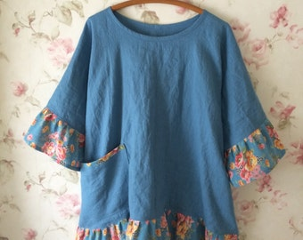 Washed Linen Tunic Shirt Trapeze Top Prairie Dress Lagenlook Pouch Vintage Cotton Ruffles Pocket Ready To Ship 52 Bust