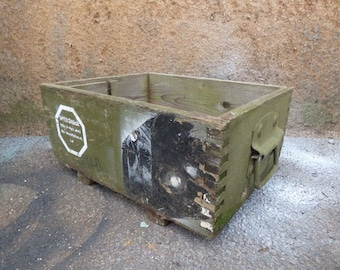 Vintage Wood Crate Army Military box w/ handles Primitive Rustic storage German ammo gun knives grenade shipping crate