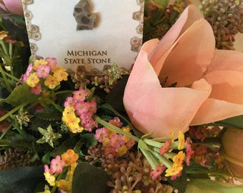 Petoskey Stone Necklace, Michigan State Stone, Jewelry, Fossilized Coral, Pendant, FREE SHIPPING