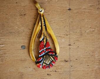 Antique carved celluloid rhinestone flower pendant ∙ 1930s celluloid rhinestone pendant