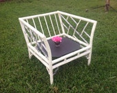 Reserved MEADOWCRAFT FAUX BAMBOO CHIPPENDALe Chair / Vintage Aluminum Chippendale Chair / Fretwork Bamboo Patio at Retro Daisy Girl