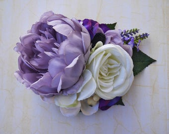 Spring lilac peony with cream lilac and purple hydrangea lavender cream rose and white berries vintage wedding bridal hairflower pin up