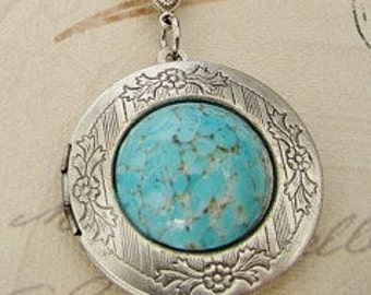 Silver Locket Necklace  Wedding Anniversary Bride Bridesmaid Turquoise Birthstone Mother Sister Wife Photo Pictures-Vangie