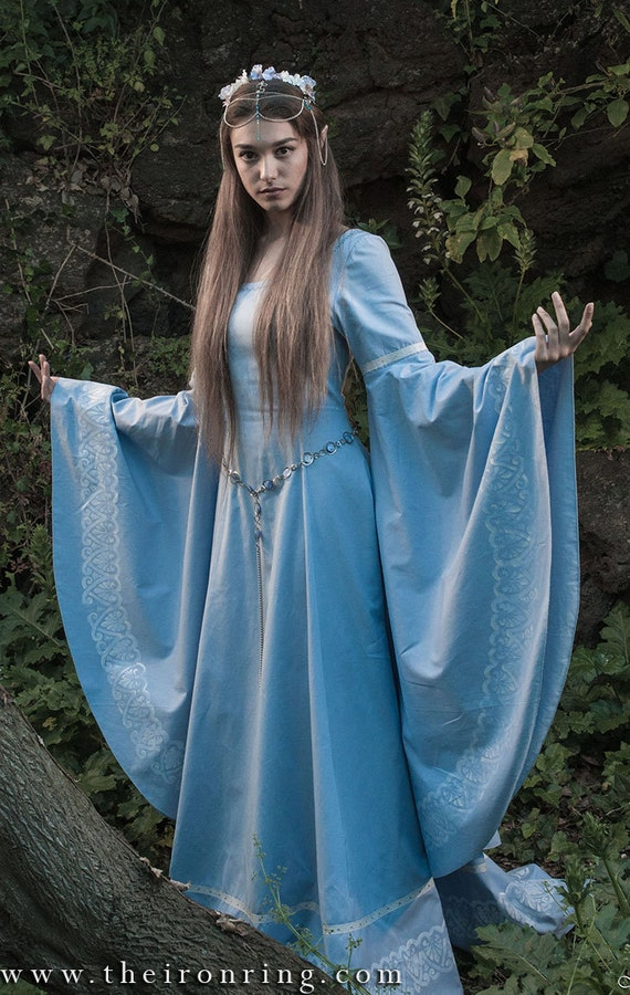 faneth elven fantasy medieval wedding dress hand painted