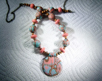 Handmade Clay Bead Necklace, Natural Stone Jewelry, Polymer Pendant