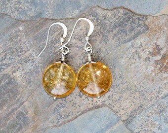 Citrine Earrings, Silver Earrings, Natural Stone Earring, Yellow Earrings, Gemstone Earrings, Handmade Earrings, Dangly Earrings