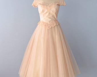 1950s Wedding Dress...WILLIAM CAHI Candlelight Tea Length Wedding Dress