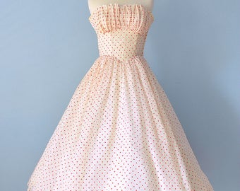 1950s Party Dress...Beautiful Ivory Organza with Red Flocked Polka Dot Party Dress Prom Dress