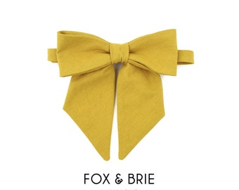 Mustard Linen Pussybow Lady Bow Tie