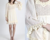 Boho Wedding Dress Boho Dress Mini Dress 70s Dress Kimono Sleeve Dress Hippie Dress Vintage Dress Sheer Floral Angel Sleeve Hippie Mini