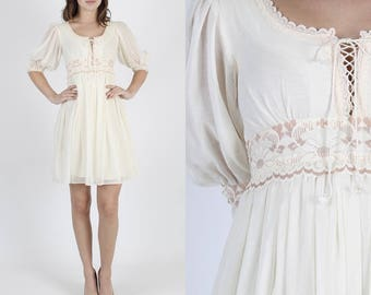 Gunne Sax Dress Festival Dress Boho Dress Jessica McClintock Dress Vintage 70s Dress Ivory Hippie Floral Lace Prairie Dress Mini Dress S