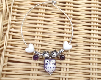 Purple Owl Bracelet, Owl Jewelry, Purple and White Glass Charm, Silver Owl Charms, Silver Bangle White Hearts and Purple Glass Dangles