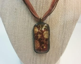 Glass Steampunk Gear Necklace