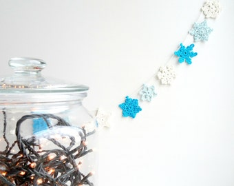 Snowflakes garland - Christmas tree decor - small snowflakes garland - crochet snowflakes decoration - simple Holiday decor ~31 in
