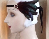 1920's flapper black beaded flapper headband with deep red burgundy vintage feathers, vintage rhinestone button, gatsby - ready to ship