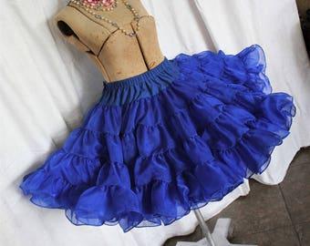 Vintage Blue Crinoline Skirt Petticoat Slip