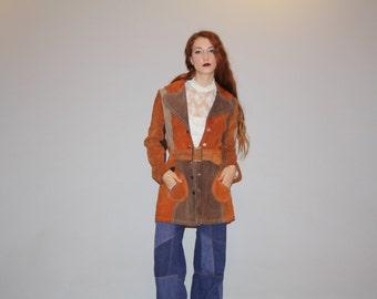 Vintage 1960s Brown Patchwork Hippie Boho 70s  Suede Coat - Vintage 60s Suede Coats - Brown Suede Coat - W00083