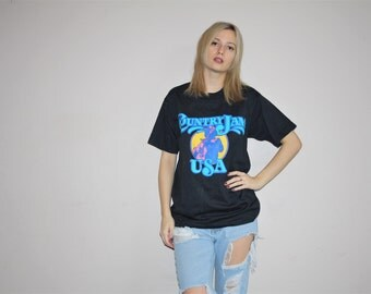 1990s Vintage Country Jam USA Neon Festival T Shirt - Vintage 90s Tees  - Vintage 1990s Tee - W00545