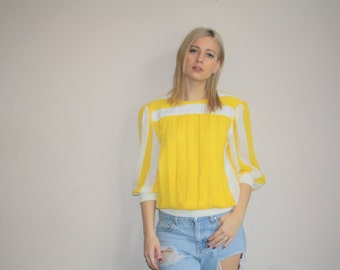 VTG Vintage 1980s Yellow Striped Abstract Minimalist Woman's Top  -  80s Blouses - Women's Yellow Blouses  - W00550