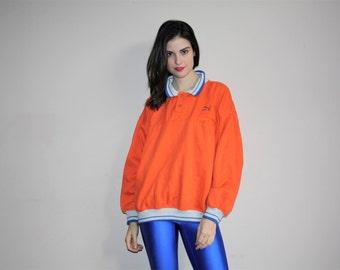 1990s Vintage Puma Orange Polo Neck Hip Hop Pullover Sweatshirt  - W00641