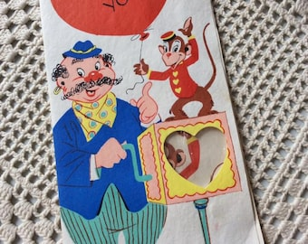 Vintage 1940s Valentine Candy Card Monkey & Organ Grinder Cards To Remember Barker Cards Collectibles Paper Ephemera Art Craft Scrapbooking