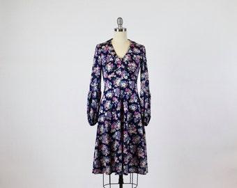 1960s Dress / 1970s Dress Floral Dress Designer Dress Gervanne Paris Dress / Juliet Sleeve Dress Boho Dress Bohemian Dress Blue Pink