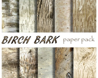 BIRCH BARK PAPER 10 Printable Papers Download Rustic Wood Texture Photography Backdrop