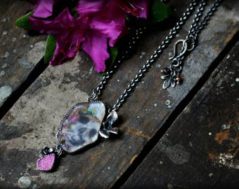 Memento Mori Necklace - Found Sea Glass, Skull & Hummingbird Art, Pink Druzy, Mourning, Cast Succulents, OOAK, Long Pendant, Day of the Dead