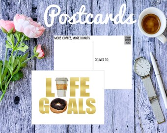 Life Goals, Coffee and Donuts, postcards, Coffee Lover, Donut Lover, Donut stationary, coffee stationary, funny postcard, snail mail, gift