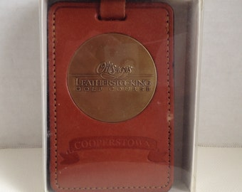 Otesaga Golf Course Luggage Bag Tag Leather in Case Vintage Golf Bag Tag Leatherstocking NY
