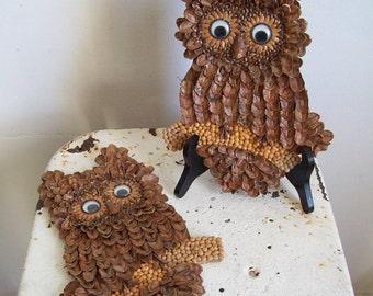 Vintage handmade owl hangings pine cone owls pair rustic woodland decor