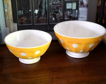 Lovely set of 2 French Cafe au Lait Bowl Yellow Polka Dots Pattern - Digoin-Sarreguemines - 1950s Photo Prop