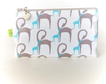 Mom and baby giraffe, small cosmetic makeup toiletries travel bag,teacher gift, baby shower gift, zipper pouch, animal print bag, teal bag