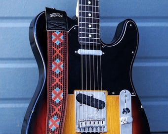 Turquoise Coral and Clay True Vintage Limited Edition Woven Guitar Strap