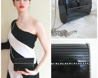 Vintage 1980s 1990s Black Evening Bag with Rhinestones / 80 90s La Regale Cylinder Lucite Party Purse