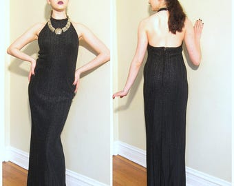 Vintage 1970s Black Maxi Party Dress with Halter Top / 70s Open Back Evening Dress in Stretchy Ribbed Black