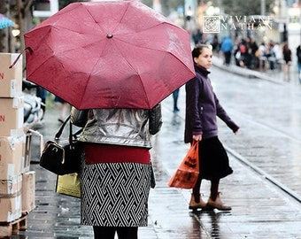 Street photography, Jerusalem street photography, rainy day, woman with red umbrella, woman walking in the rain, winter print