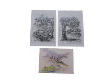Special SALE! Set of 3 printed drawings in postcard size - Jerusalem and the Holy land (set No. 4)