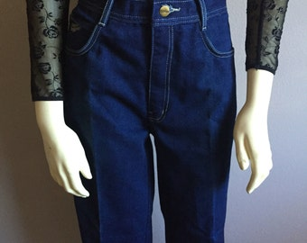 "31"" M ultra high waist indigo blue 70s vintage straight boyfriend leg denim jeans  hippie folk hipster HONCHO 31 waist wide leg pants 8 9"