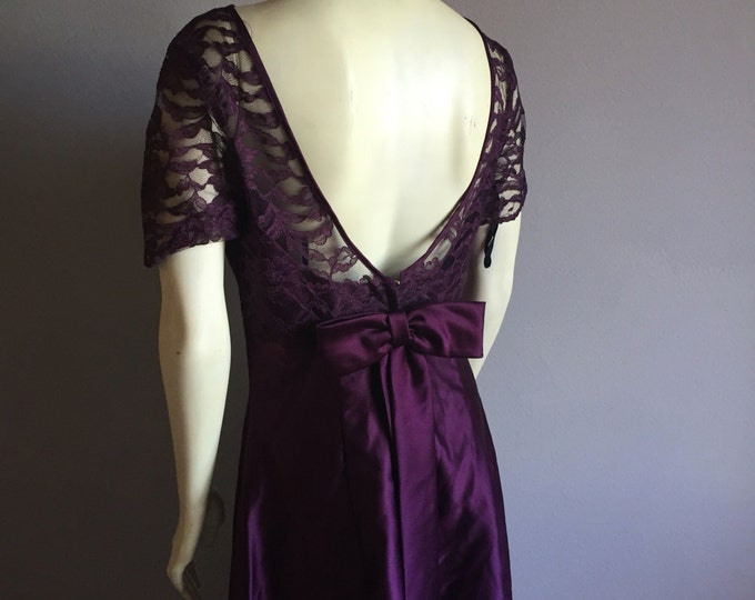 90s formal deep purple exposed scoop back sheer see through lace royal maxi dress bow tie empire waist princess DRESS 1990s cocktail event M