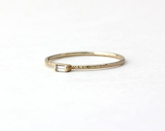 Petite Baguette Rectangle Diamond Hammer Texture Stacker Minimalist Ring - 14k Palladium White Yellow Rose Gold - Wedding Engagement Promise