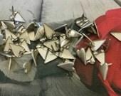 25 Matte Silver Heart Brads - Metal Paper Brads - Card making, scrapbooking, supplies, hearts, valentines, diy, craft supply