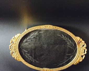 Brass And Etched Glass Vanity Tray, Made In Japan, Small Oval Footed Tray