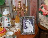 Queen Victoria Miniature Framed Desktop Photograph Miniature 1:12 Dollhouse Scale, Antique Silver Frame  1x3/4 inch Royal Family