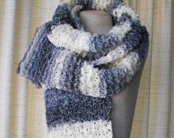 Hand Knit Chunky Extra LONG Striped Scarf in Cream Grey Luxurious Italian WOOL blend yarn / Thoughtful Gift
