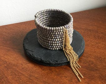 Gray Fringe Bracelet // Gray & Brass Bracelet, Gray Bracelet, Tassel Bracelet, Grey Bracelet, Grey Fringe Bracelet, Rocker Bracelet, Boho