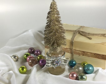 Vintage Bottle Brush Christmas Tree / Antique Gold / Merry Christmas ribbon / Vintage bottle stand