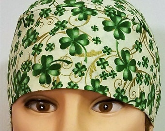 Tan Skull Cap with Green Shamrocks, Chemo Cap, Biker, Head Wrap, Hats, St Patrick's Day, Do Rags, Hair loss, Gold, Motorcycle, Helmet Liner