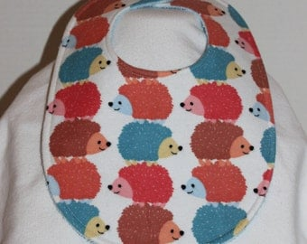 Stacked Hedgehogs Flannel / Terry Cloth Bib