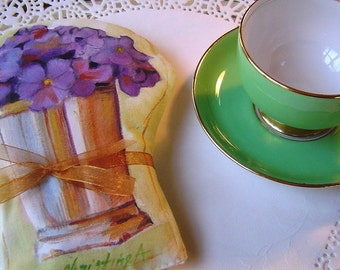 Purple Violets in Silver Cup - Pillow Accent Hand Painted Original Art - Charming Gift Valentines Birthday Rose Scented Unique Elegant